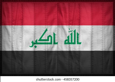 Irag flag pattern on synthetic leather texture, 3d illustration style