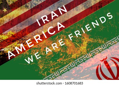 Iran and America we are friends,concept of alphabets editing