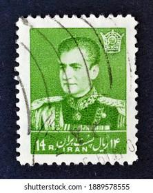 IRAN - CIRCA 1959 : Cancelled postage stamp printed by Iran, that shows Mohammad Reza Shah Pahlavi, circa 1959.