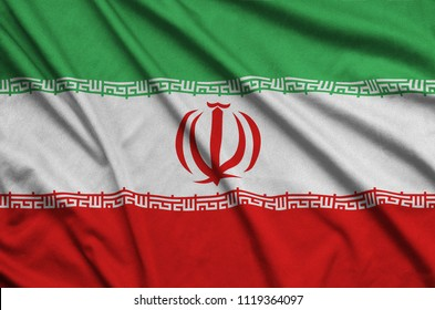Iran flag  is depicted on a sports cloth fabric with many folds. Sport team banner