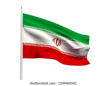 Iran flag floating in the wind with a White sky background. 3D illustration.