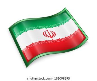 Iran Flag Icon, isolated on white background.