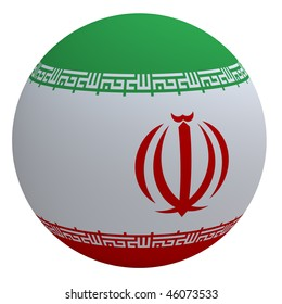 Iran flag on the ball isolated on white. Computer generated 3D photo rendering.