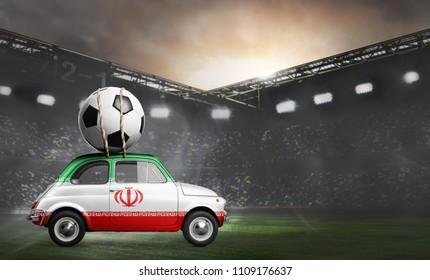 Iran flag on car delivering soccer or football ball at stadium