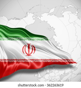 Iran flag of silk with copyspace for your text or images and world map background