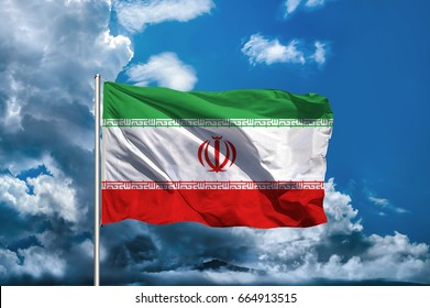 Iran flag with sky background