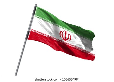 Iran Flag waving against white background stock image