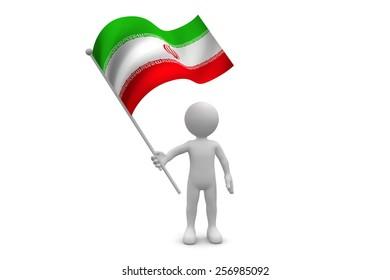 Iran Flag waving isolated on white background