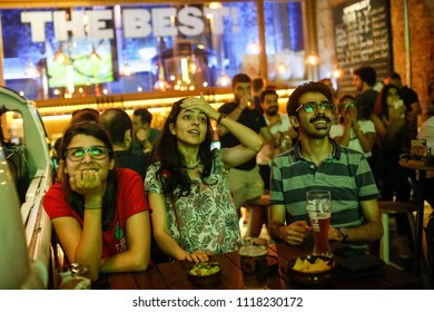 Iran football fans watch the Russia 2018 World Cup Group B football match between Iran and Spain on June 20, 2018 in Istanbul