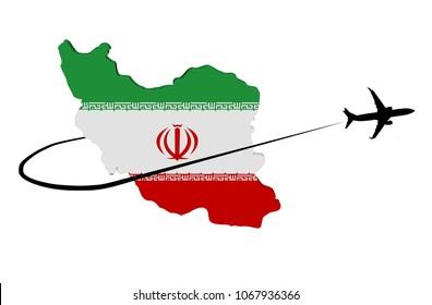 Iran map flag with plane silhouette and swoosh 3d illustration