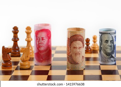 Iran Money Note vs US Money Note and Chinese money note on a Chess Board