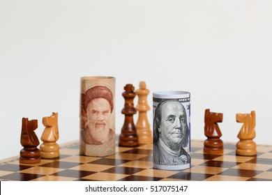 Iran Money Note vs US Money Note  on a Chess Board