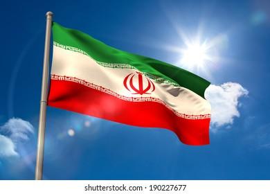 Iran national flag on blue sky background