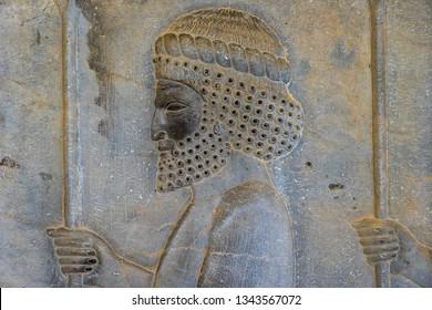 Iran, near Shiraz, Persepolis 10th of April 2019 ancient capital of King Cyrus. Beautyful relief sculpture of a head.