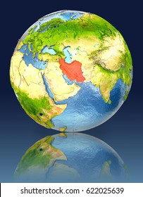 Iran on globe with reflection. Illustration with detailed planet surface. Elements of this image furnished by NASA.
