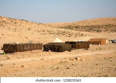 IRAN - SEPTEMBER 7: Qashqai village at 7 September, 2018 at Iran. The Qasqhai are nomadic people living in temporary villages.