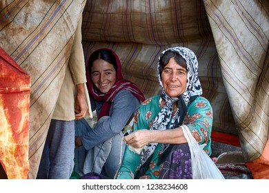 IRAN - SEPTEMBER 7: Qashqai women at 7 September, 2018 at Iran. The Qasqhai are nomadic people living in temporary villages.