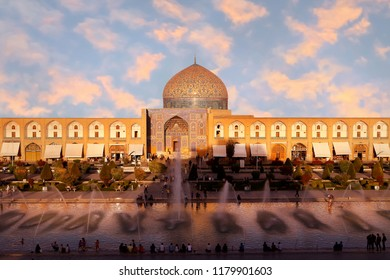 Iran. Sheikh Lotfollah Mosque at central  square in Isfahan against sunset. 17th century.