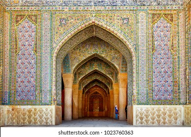 Iran, Shiraz, Persia - September 17, 2016: Entrance to the Vakil Mosque in Shiraz. Ancient architectural monument of Iran.