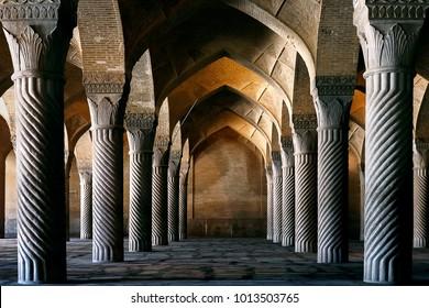 Iran, Shiraz - September 2016: Ancient columns of the Vakil Mosque in Shiraz. Iran.