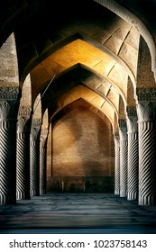 Iran, Shiraz, Vakil Mosque - September 17, 2016: Ancient columns of the Vakil Mosque in Shiraz. Ancient monument of architecture of Iran.