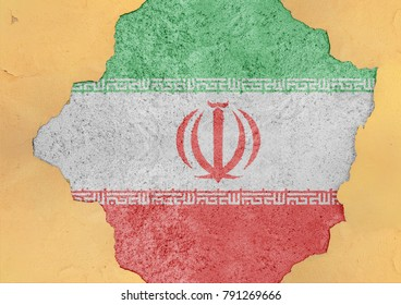 Iran state flag broken material facade structure in big concrete cracked hole