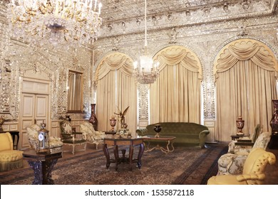 IRAN, TEHRAN - 23 SEPTEMBER, 2019: Interior of Mirror hall in Golestan Palace (Marble Palace, Palace of Roses), royal Qajar complex, Iran. UNESCO world heritage site