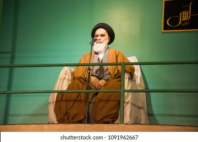 Iran, Tehran, circa april 2018: Imam Sayyid Ruhollah Musavi Khomeini wax figure displayed in the Holy defense museum in Tehran, Iran