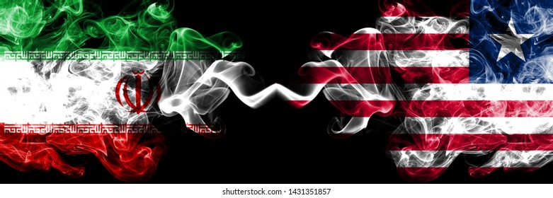 Iran vs Liberia, Liberian smoky mystic states flags placed side by side. Thick colored silky smokes flag combination of Iranian and Liberia, Liberian