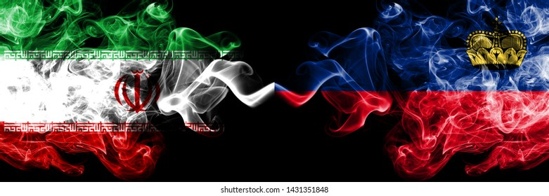 Iran vs Liechtenstein, Liechtensteins smoky mystic states flags placed side by side. Thick colored silky smokes flag combination of Iranian and Liechtenstein, Liechtensteins