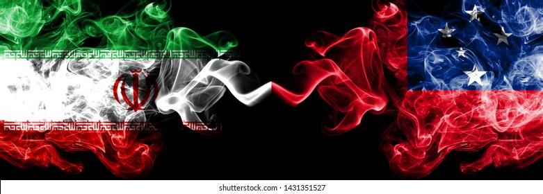 Iran vs Samoa, Samoan smoky mystic states flags placed side by side. Thick colored silky smokes flag combination of Iranian and Samoa, Samoan