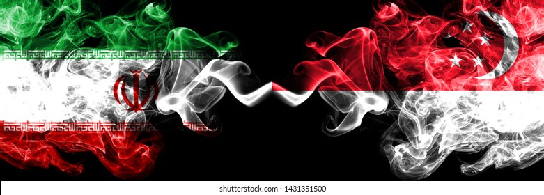 Iran vs Singapore, Singaporean smoky mystic states flags placed side by side. Thick colored silky smokes flag combination of Iranian and Singapore, Singaporean