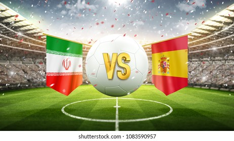 Iran vs Spain. Soccer concept. White soccer ball with the flag in the stadium, 2018. 3d render