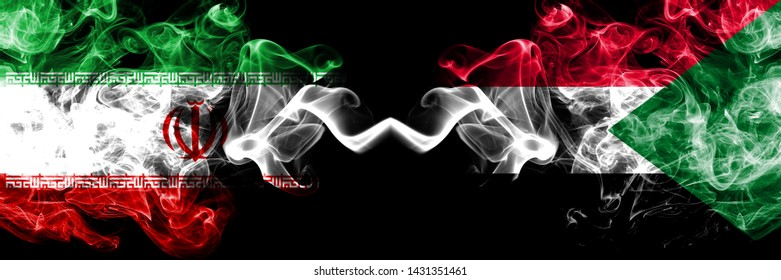 Iran vs Sudan, Sudanese smoky mystic states flags placed side by side. Thick colored silky smokes flag combination of Iranian and Sudan, Sudanese
