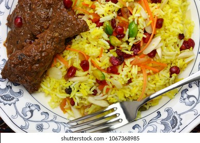 iranian cuisine, persian jeweled rice and chicken fesenjan