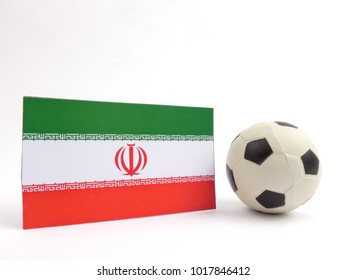 Iranian flag with football ball isloated on white background