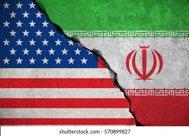 iranian flag on broken wall and half usa united states of america flag, crisis trump president and iran for nuclear atomic risk war concept