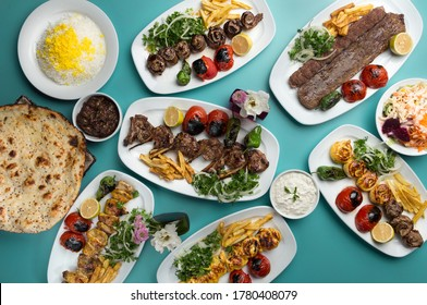 Iranian kebabs are prepared from chicken and mutton.Kebab is eaten with bread or rice. In Iran, sumac is definitely poured on kebabs.