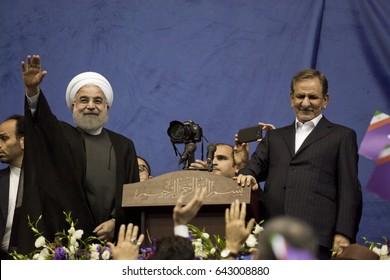 Iranian President Hassan Rouhani and first deputy Ishaq Jahangiri election rally in Tehran's Azadi Stadium, May 13, 2017.