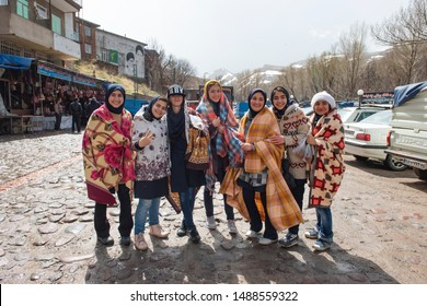 Iranian students visit Kandovan, the manmade cliff dwellings village, Central District, Osku County, East Azerbaijan Province, Iran. April 24, 2017.