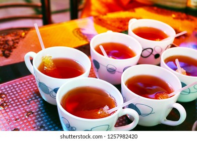 Iranian tea cups with sugar. The history of tea culture in Iran started at the end of the 15th century