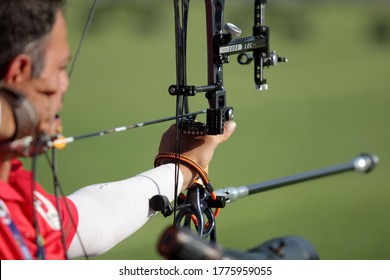 Iran's Mohammadreza Zandi competes in the quarterfinal men's W1 archery competition of the 2018 Asian Para Games in Jakarta, Indonesia on October 8, 2018