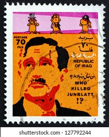 IRAQ - CIRCA 1977: a stamp printed in the Iraq shows Kamal Junblatt, Druze Leader, Killed in Lebanese War and Caricatures of Britain, US and Israel, circa 1977