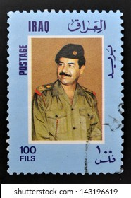 IRAQ - CIRCA 2000: A stamp printed in Iraq shows Saddam Hussein, circa 2000