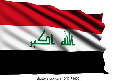 Iraq flag with fabric structure (clipping path)