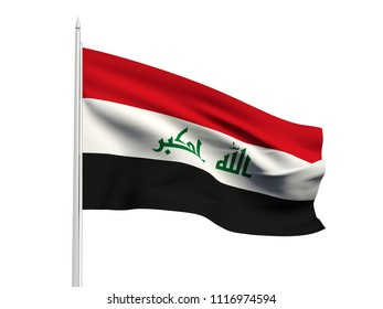 Iraq flag floating in the wind with a White sky background. 3D illustration.