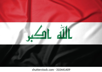 iraq flag on soft and smooth silk texture