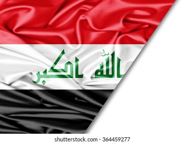 Iraq  flag of silk with copyspace for your text or images and White background