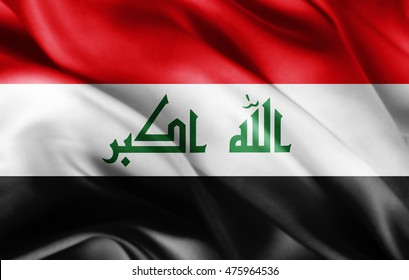 Iraq flag of silk with copyspace for your text or images-3D illustration