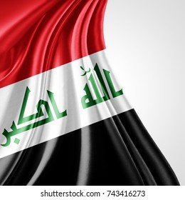 Iraq flag of silk with copyspace for your text or images and white background-3D illustration